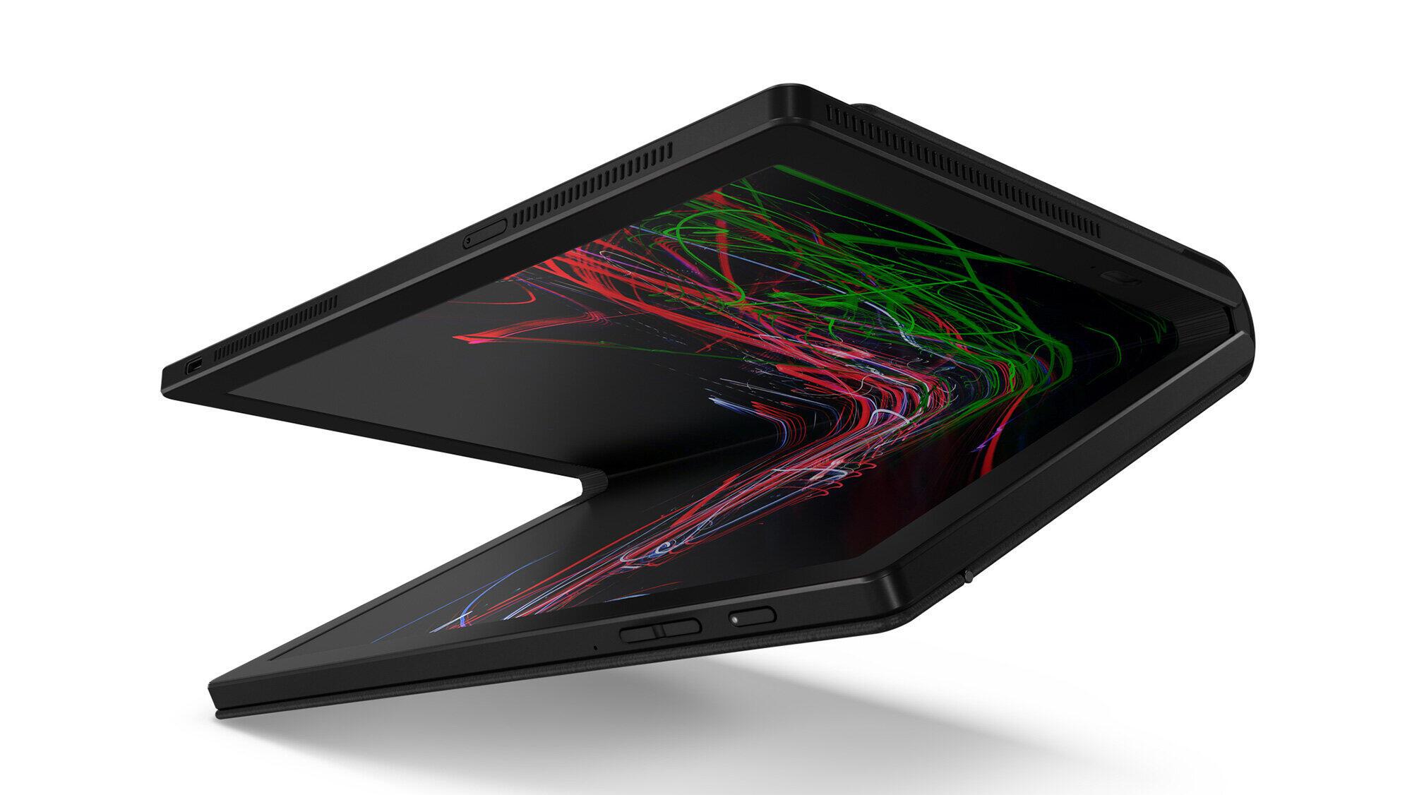 レノボのモバイルノートPC「ThinkPad X1 Fold」 ディスプレーが折りたためる