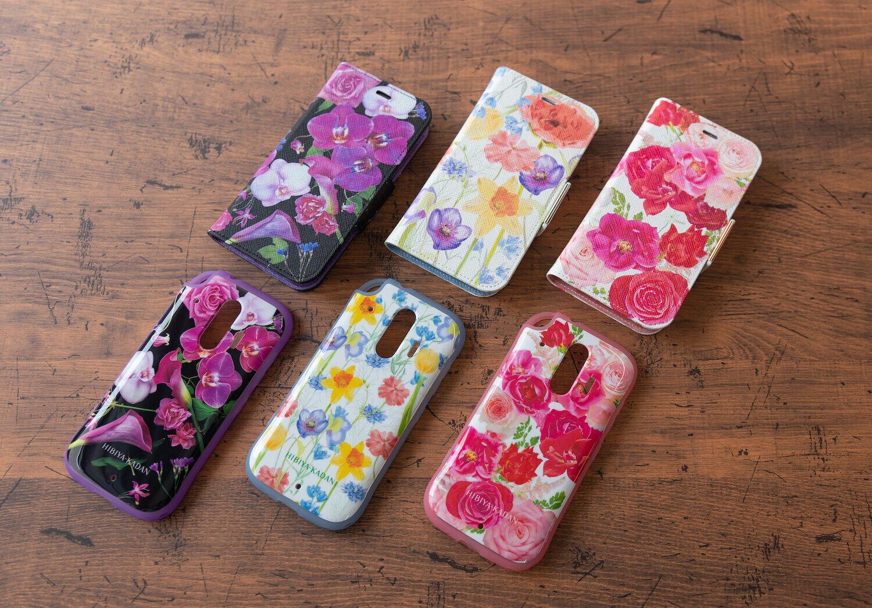 日比谷花壇が生花でデザイン 花柄「らくらくスマートフォン」向けケース