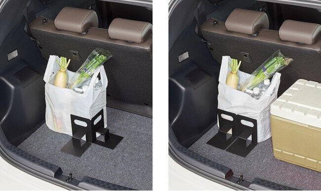 買い物袋をしっかり固定 「車の荷崩れ防止 まもりまストッパー」