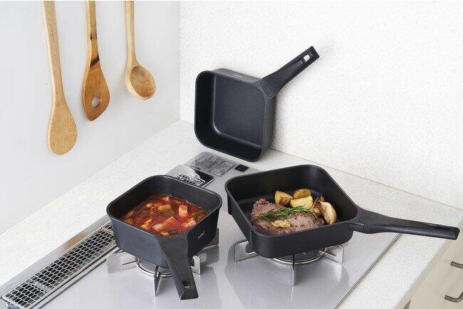 四角いフライパン「sutto」 収納も調理も便利