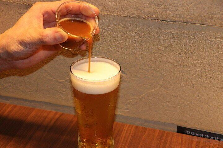 ビールに台湾茶を注ぐ