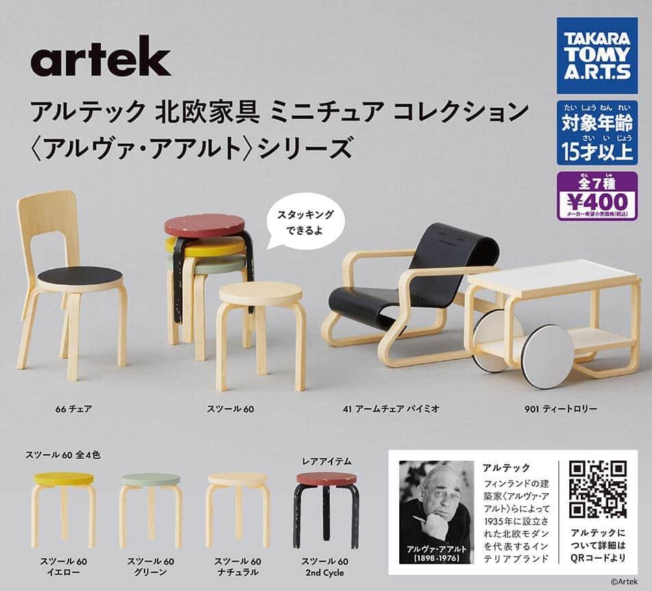 「アルテック」ブランドの北欧家具 手のひらサイズで再現したカプセルトイ