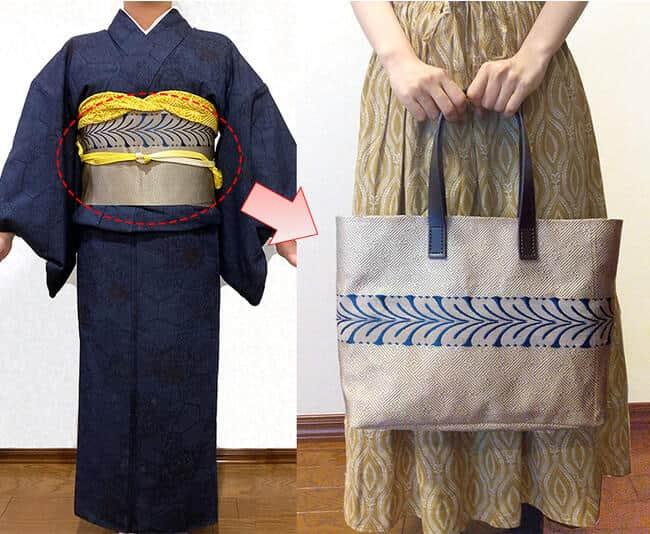 通常1本の袋帯から2~3個のバッグを作成できる