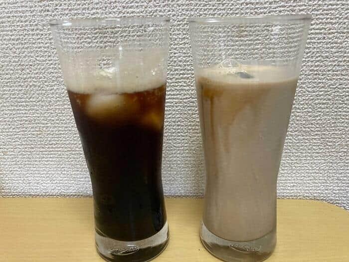 炭酸コーヒーと氷コーヒー(左から)