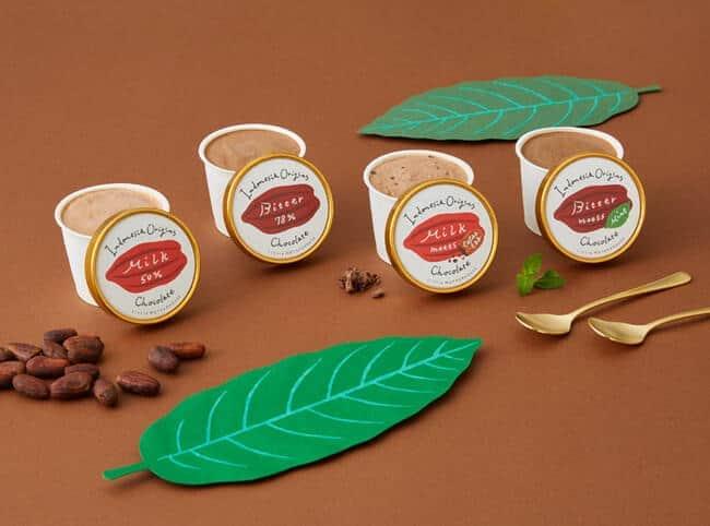 4種類のフレーバー(ミルクチョコレート、ビター、ビター×ミント、ミルク×カカオエッグ)