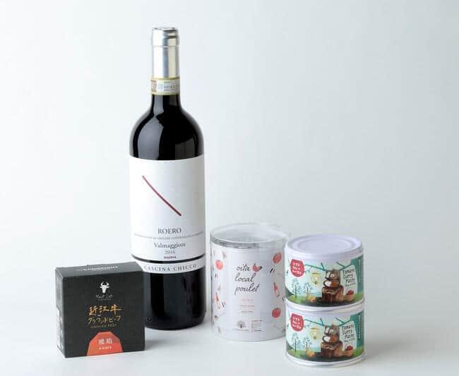 ホテルのシェフが選定したデリシャス缶詰と、それに合わせてソムリエがセレクトするワインのセット