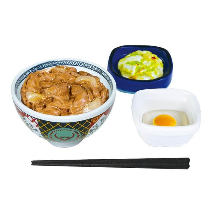 「吉野家」牛丼や焼魚定食がミニフィギュア化 どんぶりの模様やロゴ細かく表現