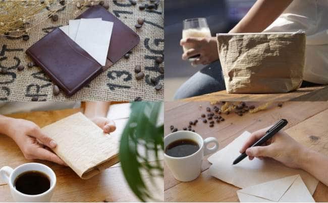 回収したコーヒーカスは、乾燥させた後、専用工場でオリジナル名刺やブックカバー、ポーチに生まれ変わる