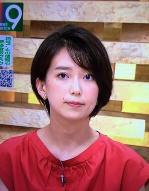 ショートカットになった和久田麻由子アナ(NHKニュースウォッチ9のテレビ画面より=2020年8月12日)