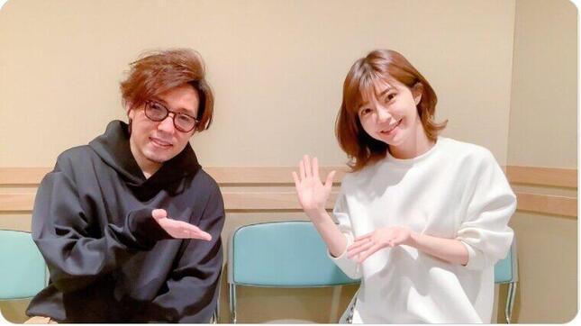 日野聡さんがツイッター(@Hino_Satoshi_84)に載せた伊瀬茉莉也さんとのツーショット。