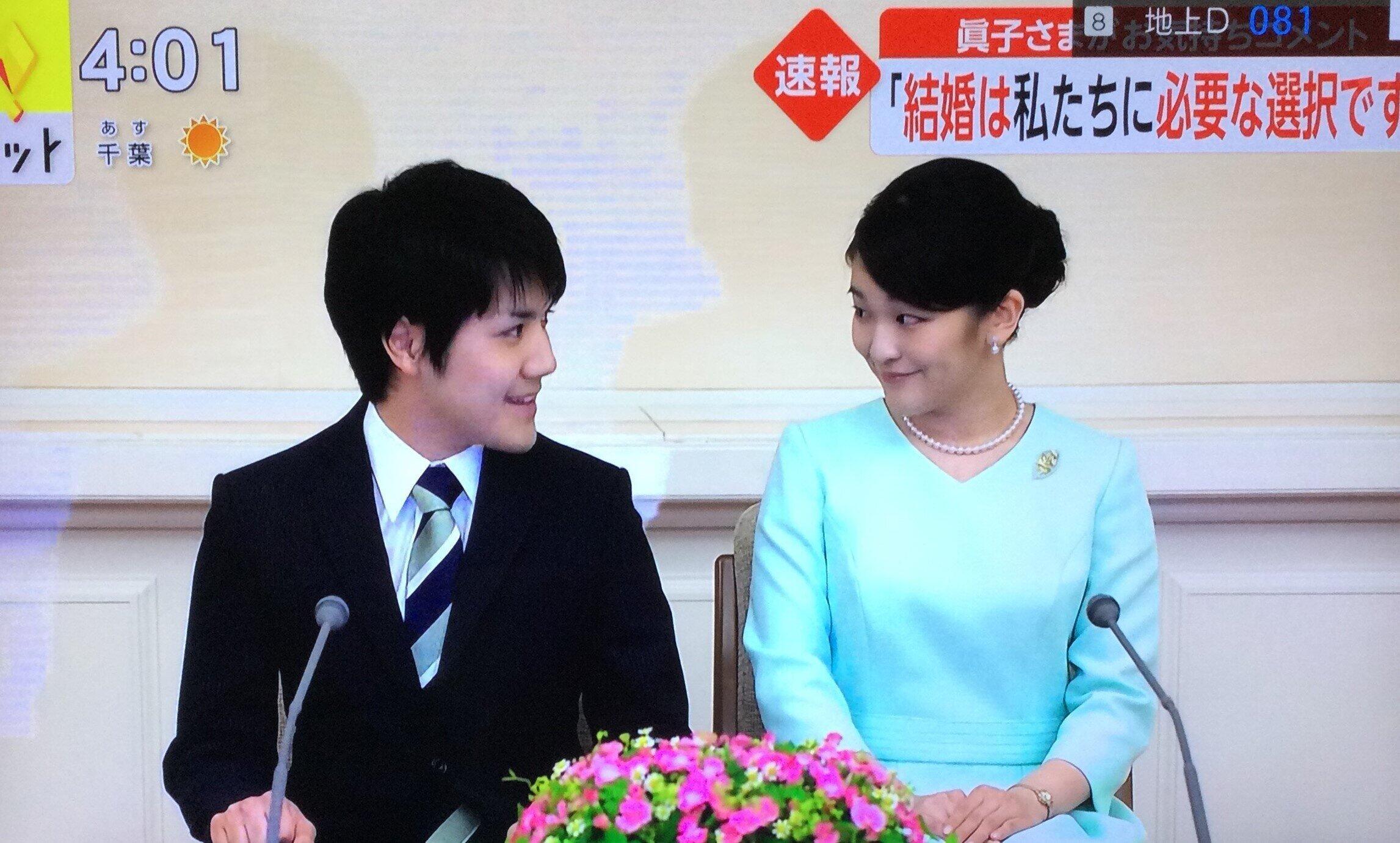 「結婚の意思」の文書を発表した眞子さんと小室圭(フジテレビより)